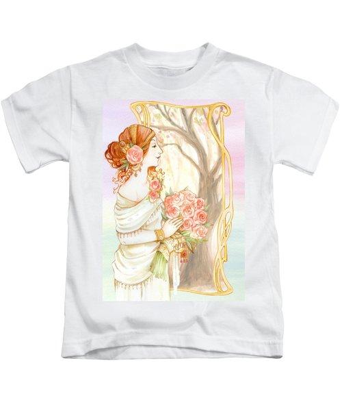 Vintage Art Nouveau Flower Lady Kids T-Shirt