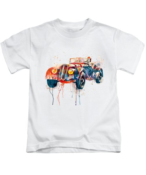 Vintage Bmw Watercolor Kids T-Shirt by Marian Voicu