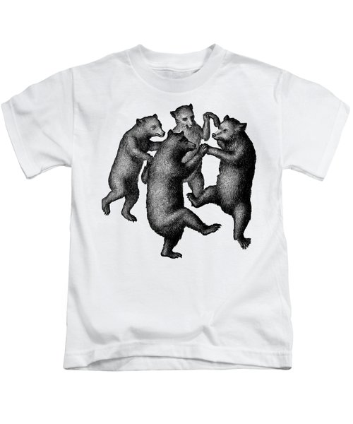 Kids T-Shirt featuring the drawing Vintage Dancing Bears by Edward Fielding