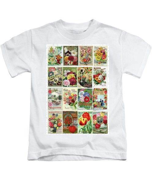 Vintage Flower Seed Packets 1 Kids T-Shirt