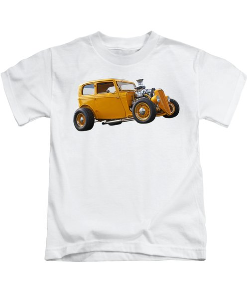 Vintage Ford Hot Rod In Yellow Kids T-Shirt