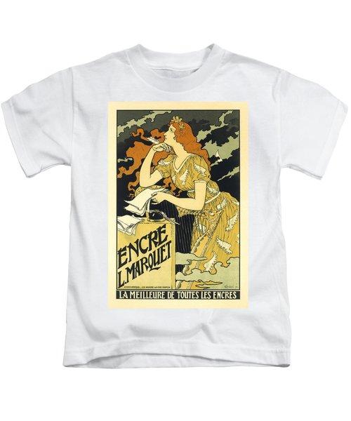Vintage French Advertising Art Nouveau Encre L'marquet Kids T-Shirt
