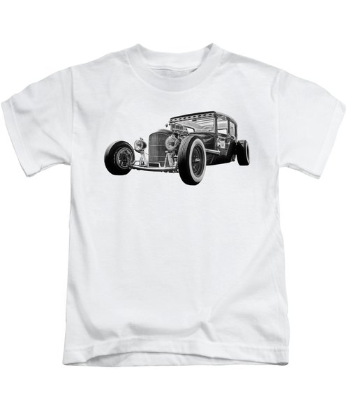 Vintage Hot Rod In Black And White Kids T-Shirt
