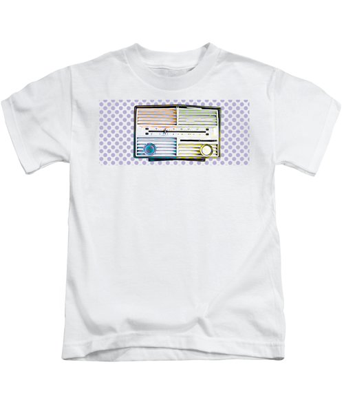 Kids T-Shirt featuring the photograph Vintage Radio Purple Dots Mug by Edward Fielding