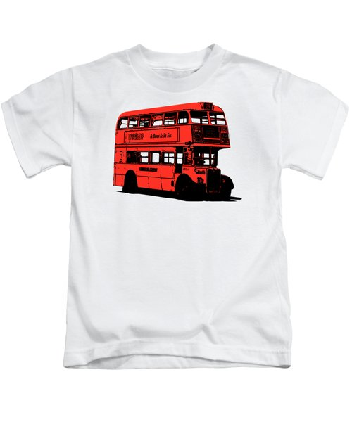 Vintage Red Double Decker London Bus Tee Kids T-Shirt by Edward Fielding