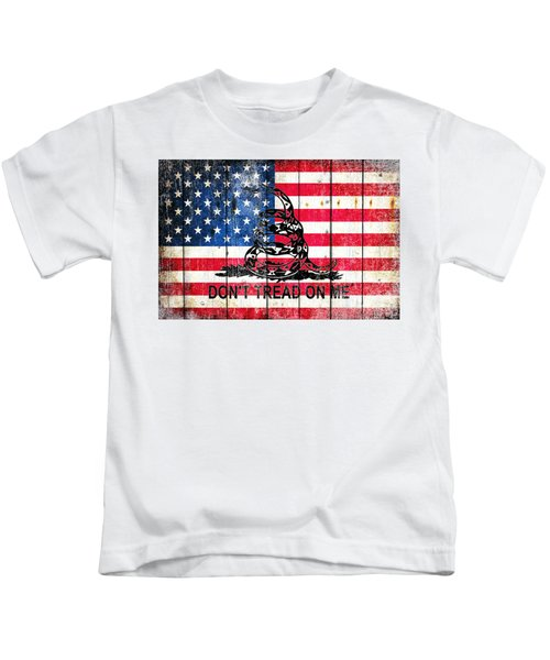 Viper On American Flag On Old Wood Planks Kids T-Shirt