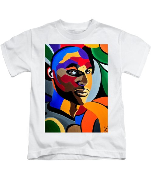 Visionaire, Abstract Male Face Portrait Painting - Illusion Abstract Artwork - Chromatic Kids T-Shirt