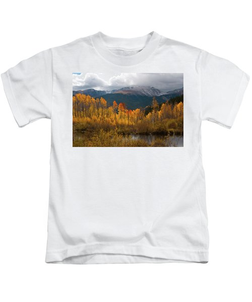 Vivid Autumn Aspen And Mountain Landscape Kids T-Shirt