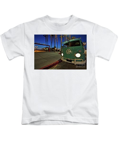 Volkswagen Bus At The Imperial Beach Pier Kids T-Shirt