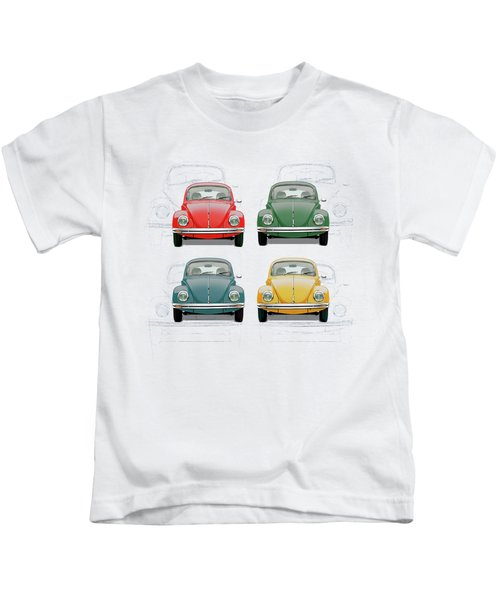 Volkswagen Type 1 - Variety Of Volkswagen Beetle On Vintage Background Kids T-Shirt