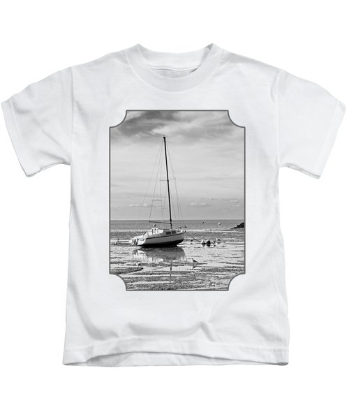 Waiting For High Tide Black And White Kids T-Shirt