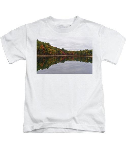 Walden Pond Fall Foliage Concord Ma Reflection Trees Kids T-Shirt