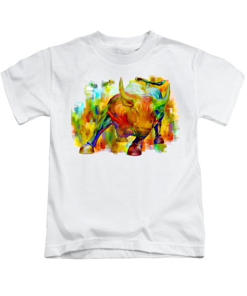 Wall Street Bull Kids T-Shirt by Jack Zulli