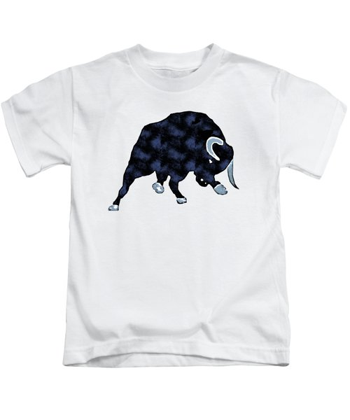 Kids T-Shirt featuring the painting Wall Street Bull Market Series 1 T-shirt by Edward Fielding