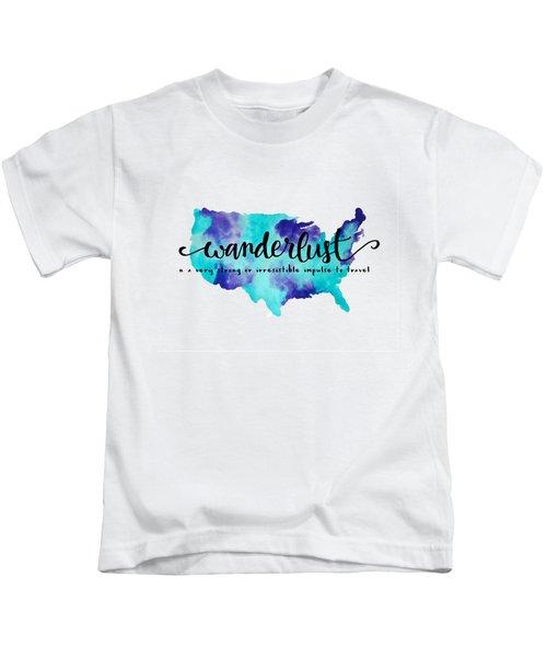 Wanderlust Us Map Kids T-Shirt