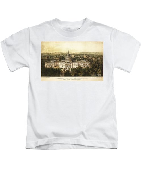 Washington City 1857 Kids T-Shirt by Jon Neidert