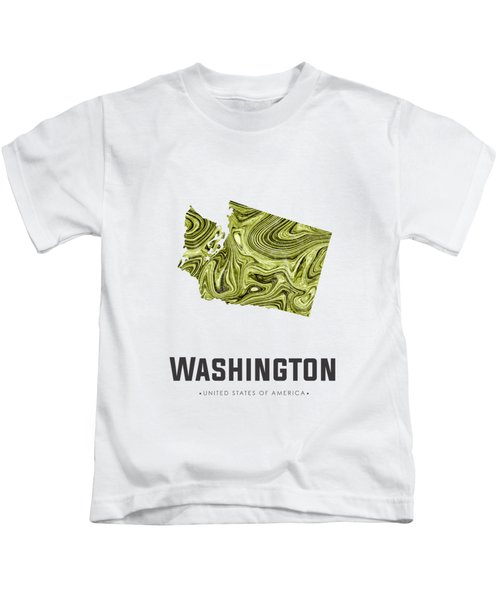 Washington Map Art Abstract In Olive Kids T-Shirt