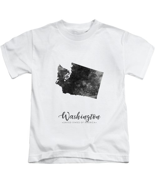 Washington State Map Art - Grunge Silhouette Kids T-Shirt