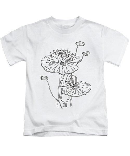 Water Lily Flower Botanical Drawing  Kids T-Shirt