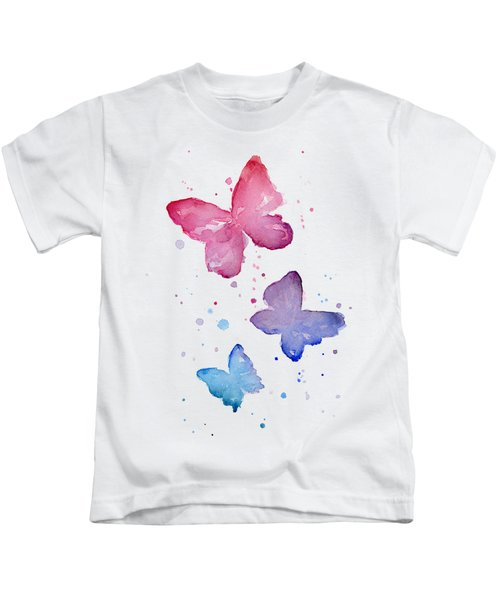 Watercolor Butterflies Kids T-Shirt by Olga Shvartsur