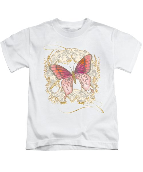 Watercolor Butterfly With Vintage Swirl Scroll Flourishes Kids T-Shirt