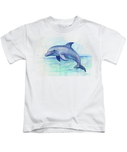Watercolor Dolphin Painting - Facing Right Kids T-Shirt