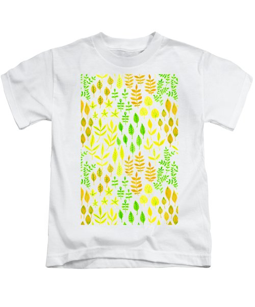 Watercolor Doodle Leaves Pattern White  Kids T-Shirt