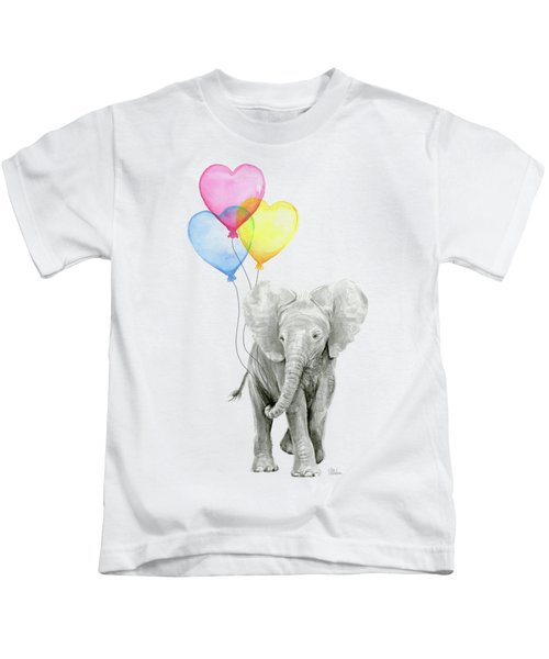 Watercolor Elephant With Heart Shaped Balloons Kids T-Shirt by Olga Shvartsur