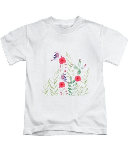 Watercolor Floral And Butterfly Kids T-Shirt