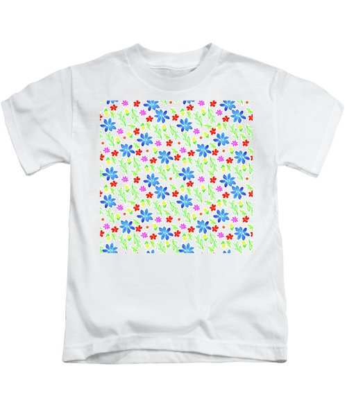 Watercolor Floral Seamless Pattern Kids T-Shirt