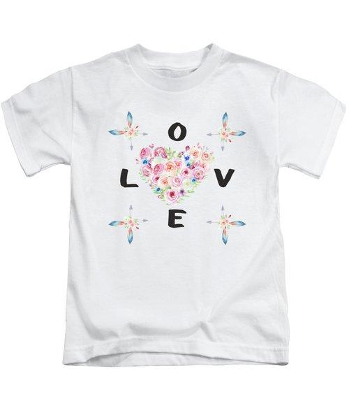 Watercolor Flowers Arrows Love Typography Kids T-Shirt