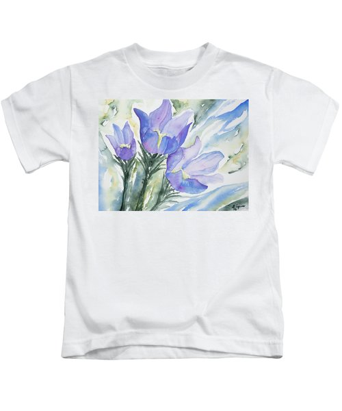 Watercolor - Pasque Flowers Kids T-Shirt
