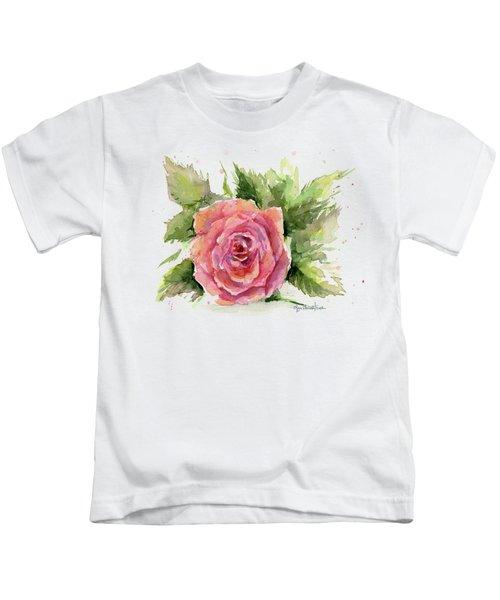 Watercolor Rose Kids T-Shirt
