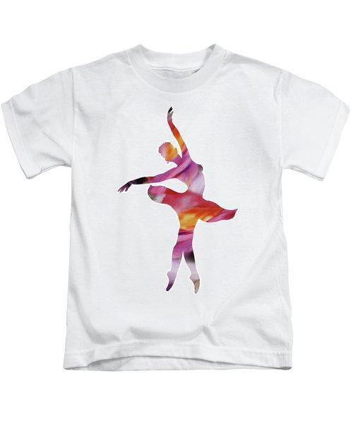 Watercolor Silhouette Dancing Ballerina I Kids T-Shirt