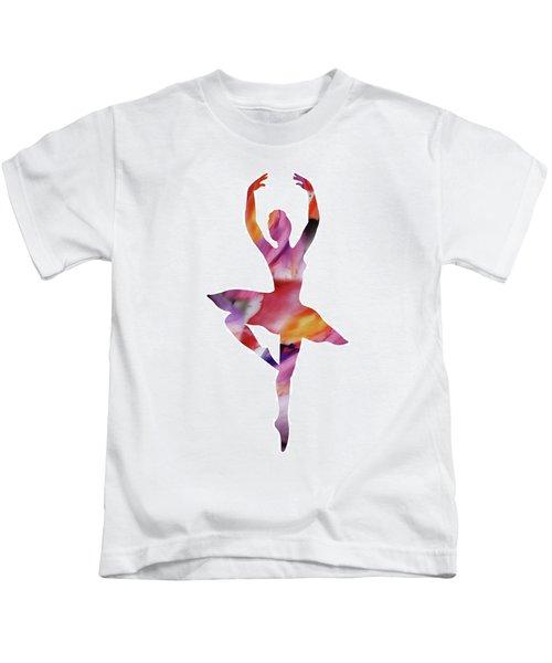 Watercolor Silhouette Dancing Ballerina II Kids T-Shirt