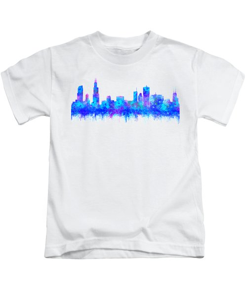 Watercolour Splashes And Dripping Effect Chicago Skyline Kids T-Shirt