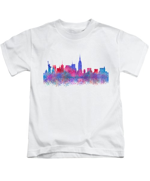 Watercolour Splashes New York City Skylines Kids T-Shirt