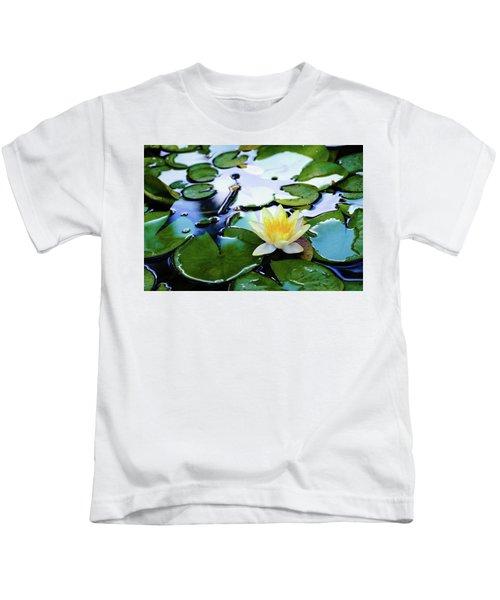 Waterlilly On Blue Pond Kids T-Shirt