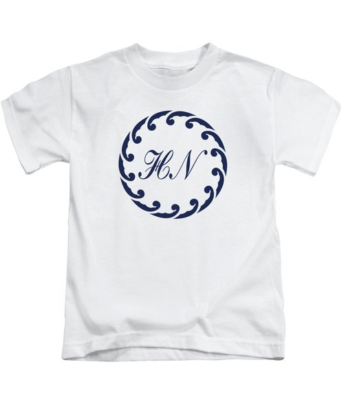 Wave Ring And Cipher In Blue Kids T-Shirt