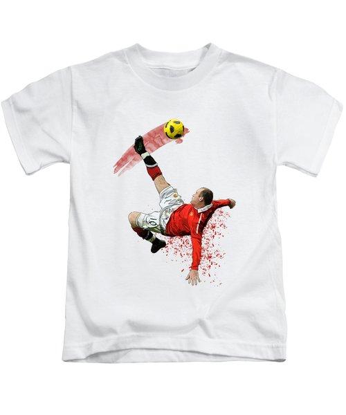 Wayne Rooney Kids T-Shirt by Armaan Sandhu