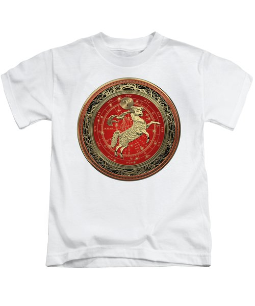 Western Zodiac - Golden Aries -the Ram On White Leather Kids T-Shirt