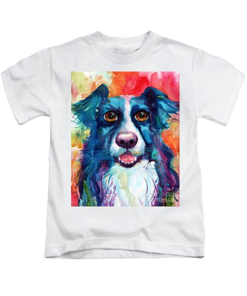 Whimsical Border Collie Dog Portrait Kids T-Shirt