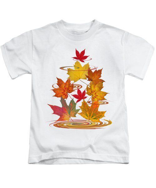 Whirling Autumn Leaves Kids T-Shirt