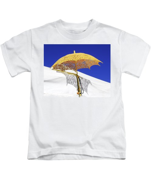 White At Base And Yellow On Blue Kids T-Shirt