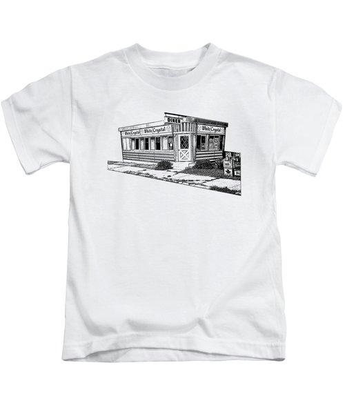 White Crystal Diner Nj Sketch Kids T-Shirt