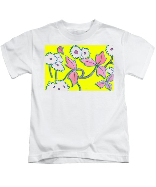 White Flowers On Bright Yellow With Light Purple Leaves Pattern Kids T-Shirt