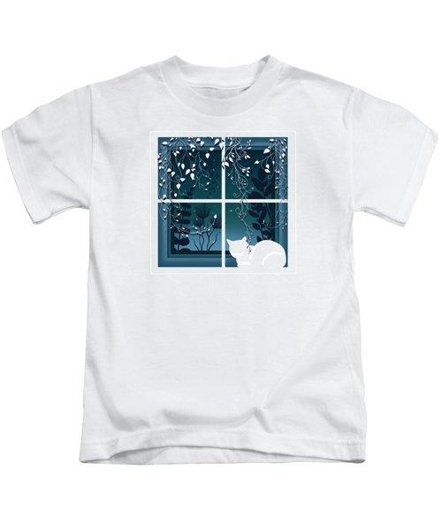 White Kitty Cat Window Watcher  Kids T-Shirt