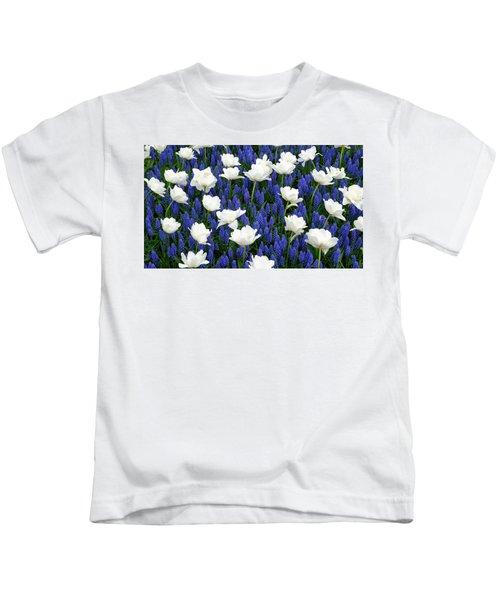 White On Blue Kids T-Shirt