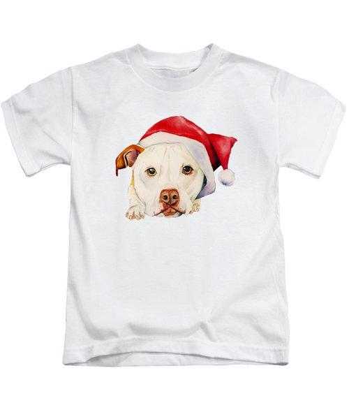 White Pit Bull Terrier Dog With Santa Hat Portrait Kids T-Shirt