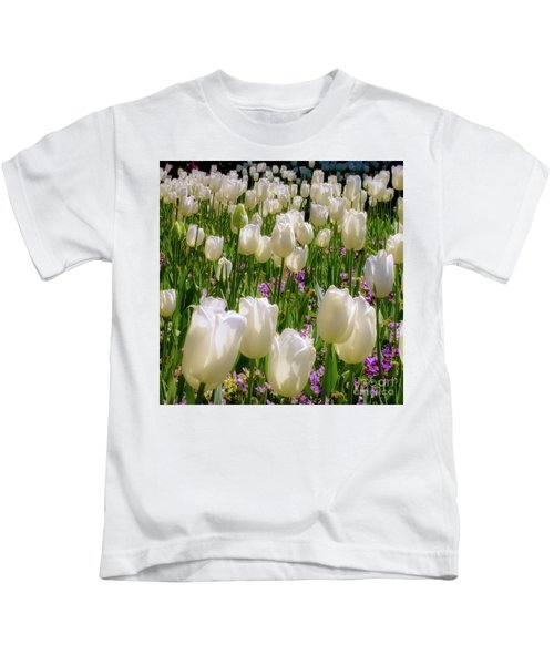 White Tulips In Bloom Kids T-Shirt
